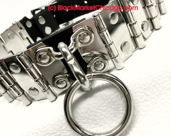 BDSM Collar, Industrial Medieval STEEL Steampunk Victorian Single Ring, Standard or Lockable Buckle with Leather Straps