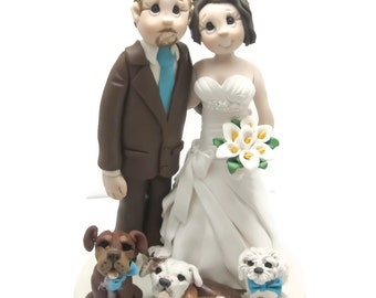 Custom cake topper, Dog Lovers wedding cake topper, Bride and Groom cake topper, Mr and Mrs cake topper, personalized cake topper