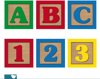 Baby Blocks Alphabet and Numbers Digital Clipart, Wooden Blocks Alphabet, Children Alphabet Clip Art - INSTANT DOWNLOAD