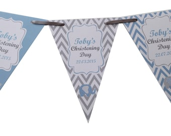 Personalised Christening Bunting  Banner Party Decoration Chevron Flags