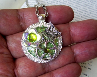 Steampunk Necklace (N707) Green Sparkle Base Pendant, Glass Flower Bead and Swarovski Crystals, Silver Gears and Butterfly, Chain