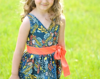 Megan's Wrap Top & Dress. PDF sewing pattern for toddler girl sizes 2t - 12.