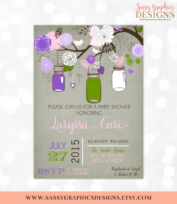 Mason Jars Baby Shower Invitation Baby Girl Floral Rustic