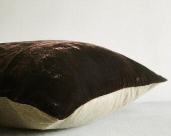 Dark Brown Velvet Pillow Cover, Dark Brown Velvet Cushion Cover , Decor Pillow , Brown Decorative Pillow, Housewares , Velvet Pillow