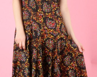 80s Vintage Drop Waist Speckled Flapper Dress