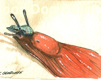 ACEO signed PRINT - Orange Slug with hat-