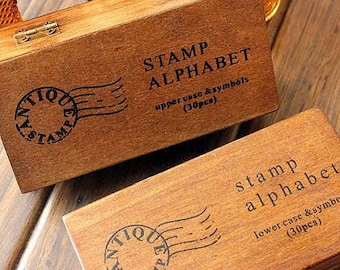 2 Cases Antique Alphabet Stamp Sets - Vintage Stamps  - Rubber Stamps - Letter Stamps - Upper Case and Lower Case - WR01011