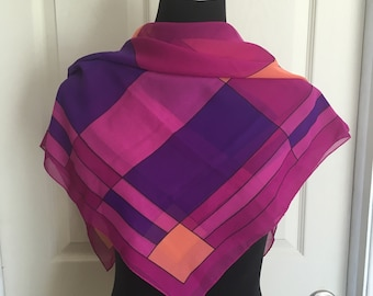Vintage Chiffon Sheer Square Pink and Purple Scarf in a Geometrical Print 1970s Summer Scarf - FREE SHIPPING EVERYWHERE