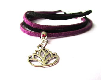 "Bracelet double turn ""flower of lotus - purple and black"" suede cord"