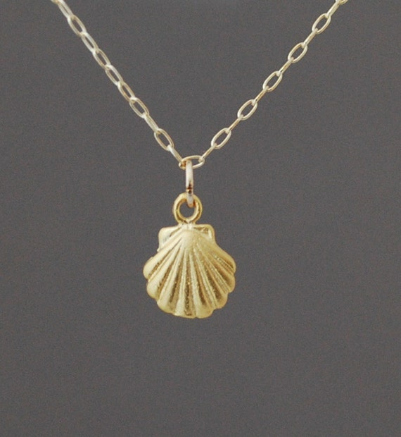Make Your Own Seashell Jewelry: Small Gold Seashell Necklace Also In Silver