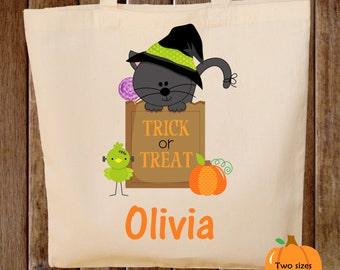Trick or Treat Bag Kitty Cat Halloween Tote Bag Trick or Treat Bag