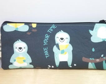 Back to School Pouch - Sloth Pencil case - Zipper pouch - Sloth Slow Down - Student/Teacher Gift - Pen pouch - Back to School Case