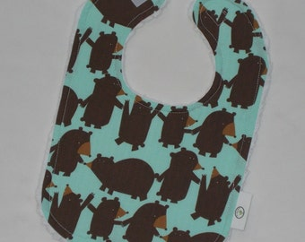 Light Blue Get Together Bears and Chenille Bib - SALE