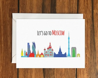 Let's Go to Moscow Holiday Gift Idea greeting card A6