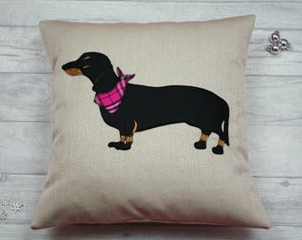 Dachshund Cushion, Sausage Dog Cushion, Dachshund Pillow, Sausage Dog Pillow, Dog Lovers Gift, Dachshund Motif, Pedigree Dog Pillow, Doxie