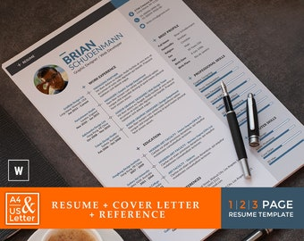 2-Page Resume Template /CV Template + Cover Letter + Reference   Word Resume Template   Creative Resume Template with TUTORIAL VIDEO