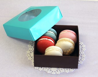 10 Square Macaron/Gift/Favor Turquoise & Brown Boxes.