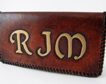 Leather Checkbook Cover Leather Monogrammed Checkbook  Monogram Checkbook Made to Order Custom Leather Personalized