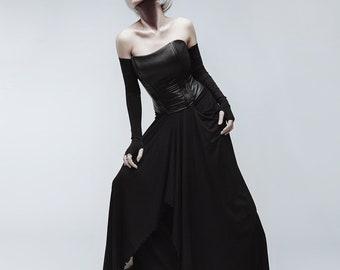 Gothic costume, black skirt, faux leather corset, dark evening dress, long skirt, vampire clothing, gothic wedding, witch skirt asymmetrical