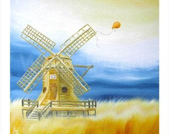 Kunstdruck eines Ölgemäldes - Der Orangene Luftballon III (34 x 34 cm)