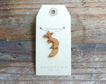 Fox Necklace with Sterling Silver Chain