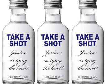 """Bachelorette Party Favor """"Take A Shot, She's Tying The Knot"""" Set of mini Absolut labels"""