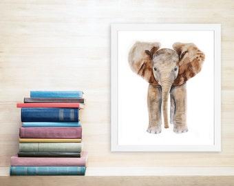 Elephant Art Print, Elephant, Safari Nursery, Kids Wall Decor, Elephant Wall Art, Animal Art, Watercolor, Baby Girl, Brown, Neutral