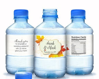 Wedding Water Bottle Labels - 30 Wedding Water Labels - Custom Water Bottle Labels - Fall Wedding Favors - 30 Waterproof Bottle Labels