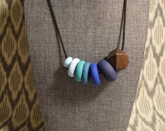 Ombre blue clay necklace