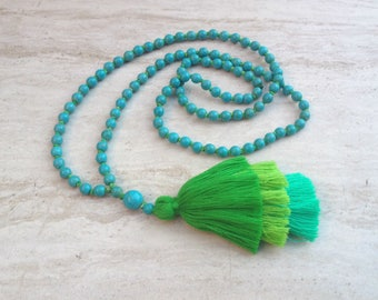Amara Boho Tassel Necklace, Turquoise Beaded Tassel Necklace, Turquoise Hand Knotted Beaded Tassel Necklace,Green Hues Tassel Necklace