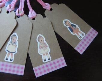 "5 large tags ""Little girls"" kraft 9.5 x 4.5 cm"