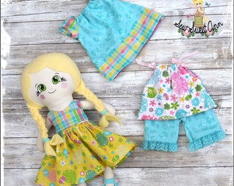 Fabric Doll Handmade - Rag Doll - Cloth Doll - Heirloom Doll -  Doll Set - Dress up Doll