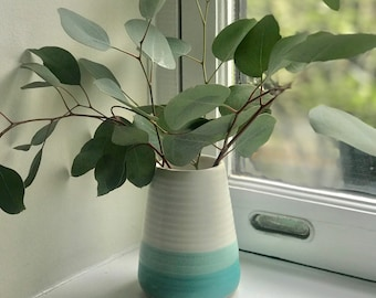 Turquoise and White Stoneware Vase