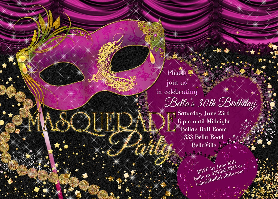 Masquerade Party Invitation Mardi Gras Party Party