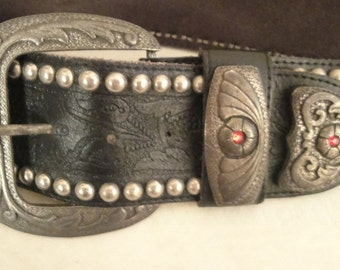 Vintage 1980's LA Fred Segal Black Leather Studded Belt