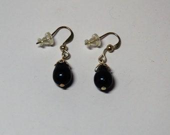 Deep Petrol Blue Pear Pearl Drop Earrings