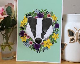 Spring Badger Face Art Print, A5 A4 Size, Wild flowers, British Wildlife Illstration, Badger Artwork.