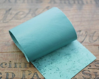 Leather Panel Super Soft Kid Leather Strip 9x3inches Green Turquoise