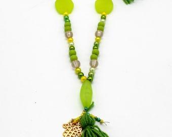 Festival Tassel necklace, green tribal necklace,boho necklace, accessories,bijoux tendances necklace,sautoir fantaisie, sautoir tendances