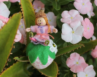 Little Girl Pixies Playing with Straberries, Felt art doll on plush fabric strawberry, handmade hanging ornament