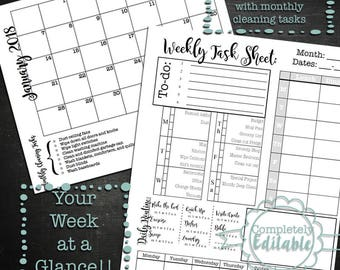 Editable Week at a Glance Printable Planner and Monthly calendar--includes cleaning tasks and meal planning••weekly planner