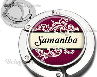 Personalized Flourishes and Stripes Foldable Purse Hook Bag Hanger With Double Sided Compact Mirror