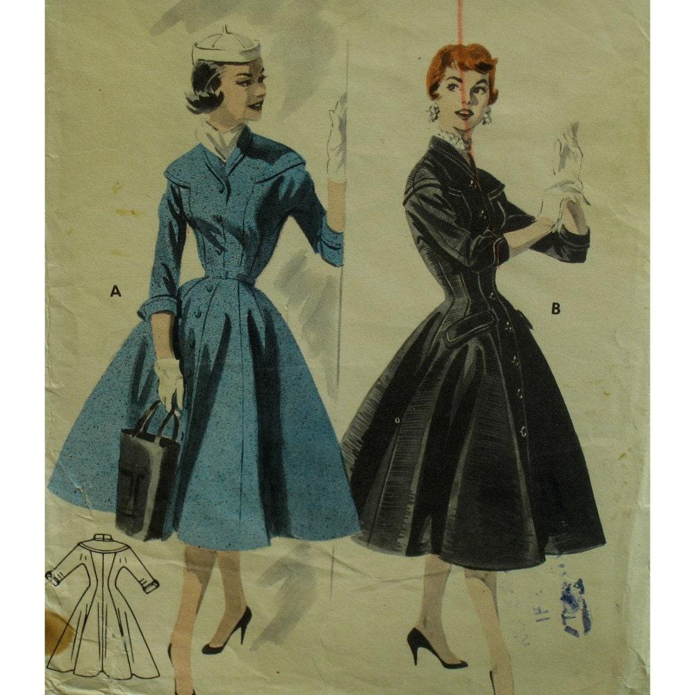 1950er Jahre Mantel Kleid Muster versehen ausgestellte Rock