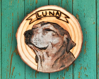 Custom Wood-Burned Watercolor Dog Portrait, Hand Painted Pet Portrait, Pet Loss, Pet Memorial Gift, Gift for Pet Lover