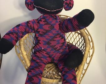 Pink, Blue + Black Sock Monkey