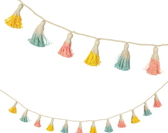 Pastel Tassel Garland, Meri Meri Tassel Banner, Cottage Chic, Nursery Decor, Yarn Tassel Garland, Baby Shower, Pom Pom Banner, New Baby Gift