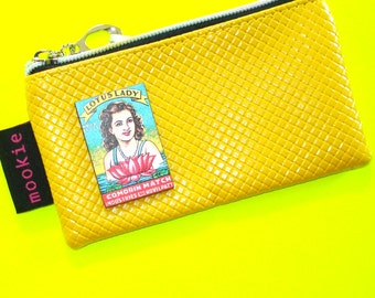 Lotus Lady Pinup Girl Mustard Yellow Vintage Matchbook Cover Blue Zippered Pouch Coin Purse Cosmetics Bag