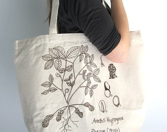 Canvas Tote Bag - Screen Printed Recycled Cotton Grocery Bag - Large Canvas Shopper Tote - Reusable and Washable - Eco Friendly - Botanical