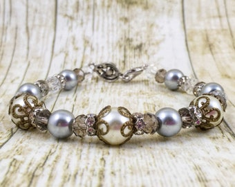 Antique Pearl Bracelet | Bridal Bracelet | Wedding Jewelry | Matching Earrings in Shop | Gift for Her Under 25 Dollars | Gift for Mom