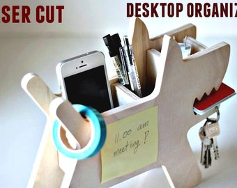 Desk organizer, Wooden Pen and Pencil Holder, office organization, desktop organizer,Docking station,Laser cut vector model,Instant download